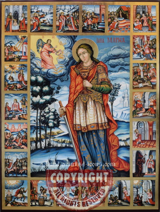 Saint Marina and scenes from her life-hand-painted-icon-80x60