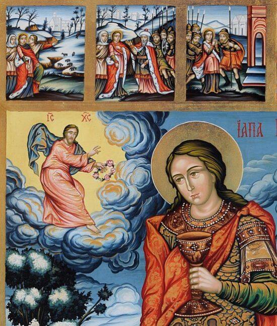 St Marina-hand-painted-Orthodox-icon-detail