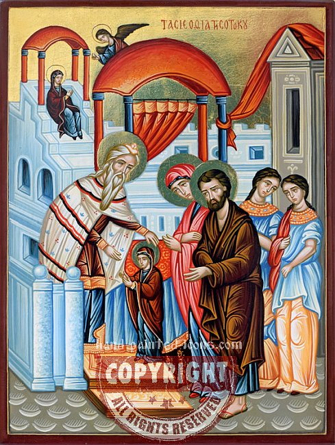 The presentation of the Virgin in the Temple- hand-painted-icon