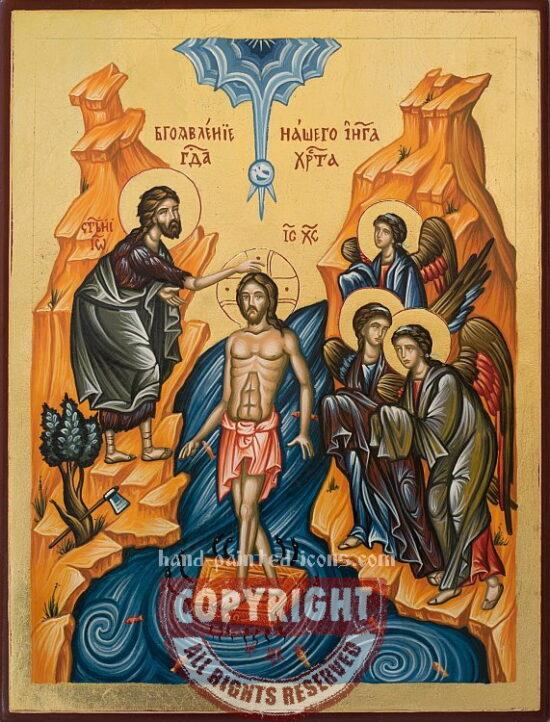 Baptism of Jesus Christ-hand-painted-icon-28x21cm