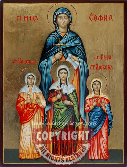 Saint Sofia and daughters-hand-painted-icon