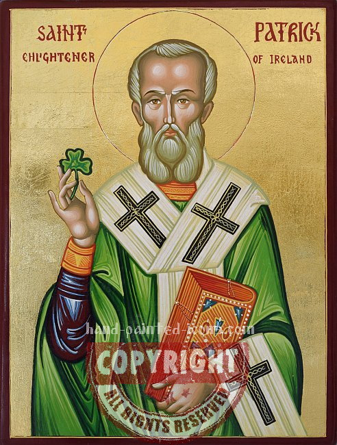 Saint Patrick of Ireland- hand-painted icon