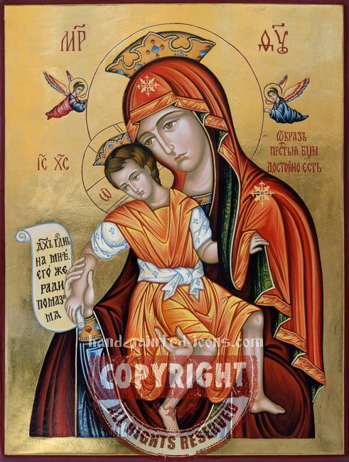 The Holy Virgin-Dostoyno Est-hand-painted-icon